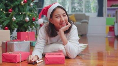 Asian women celebrate Christmas festival.
