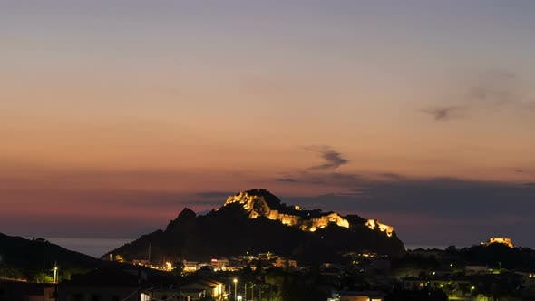 Thumbnail for Time Lapse of Scenic City Lights in Myrina, Greece. Beautiful Night Sky Above the Castle of Myrina