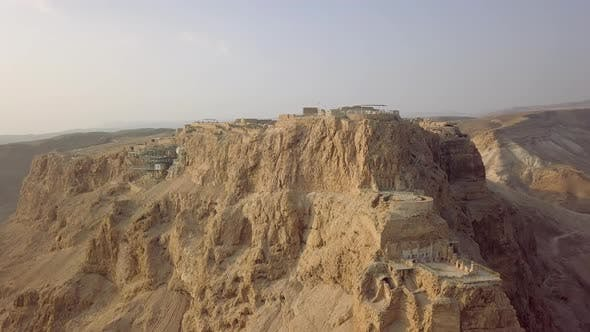Thumbnail for Masada Front View From Drone with Funicular Station