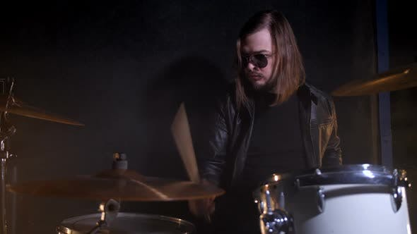 Thumbnail for Rock Drum Playing on Drum Set in Record Studio