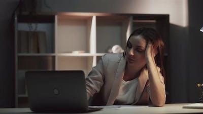 Overwork Fatigue Tired Woman Yawning