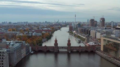 Berlin Establishing Shot of Cityscape Skyline with Spree River, Oberbaum Bridge and Construction