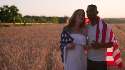 Interracial Couple with USA Flag