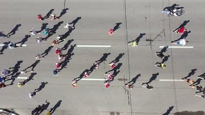 Aerial Crowd Running City Marathon