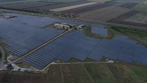 Aerial View of a Solar Power Station in the Field Renewable Energy Source