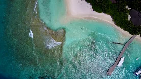 Thumbnail for Tropical birds eye abstract view of a white paradise beach and blue sea background in colorful 4K