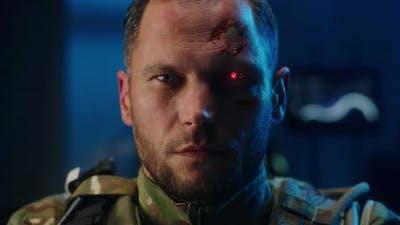 Cyborg Soldier Looking at Camera