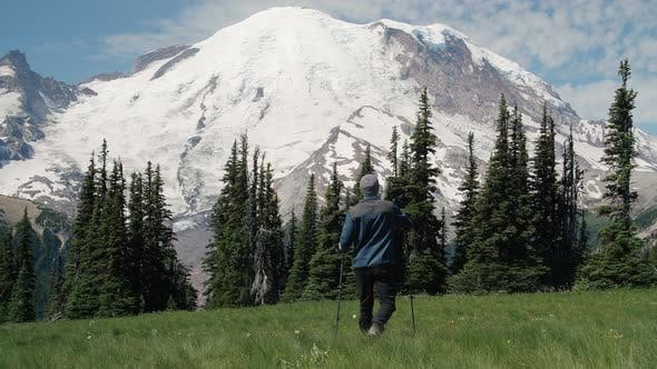 Thumbnail for Hiker With Poles Exploring Mt Rainier Wilderness