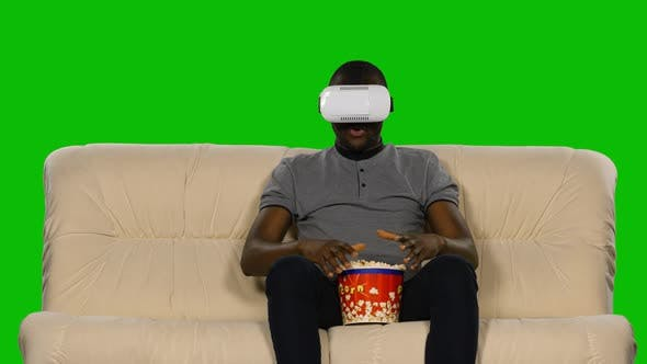 Thumbnail for Man in a Mask Augmented Reality Device. Green Screen