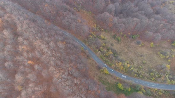 Thumbnail for Drone Chasing Cars Driving on Asphalt Road Uphill in Mountain Forest in the Autumn