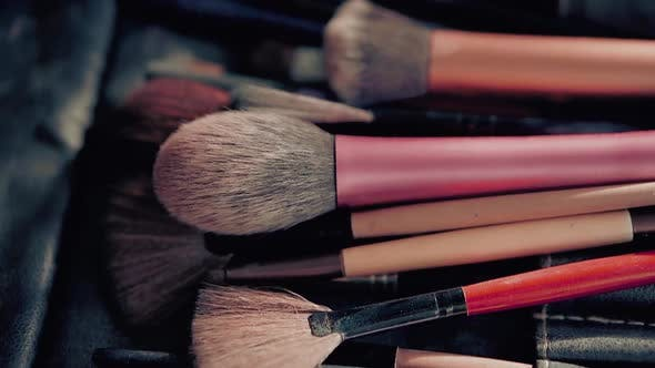 Set of Brushes, for the Make-up Artist and Stylist, To Create the Image of the Bride