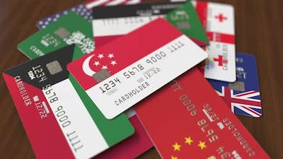 Emphasized Bank Card with Flag of Singapore
