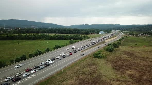 Thumbnail for Aerial View of Freeway Busy Rush Hour Heavy Traffic Jam Highway