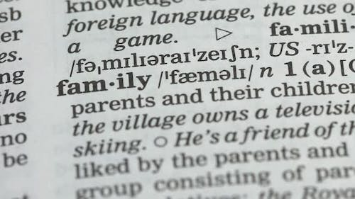 Family Meaning in Dictionary, Marriage Social Institution, Parents and Children