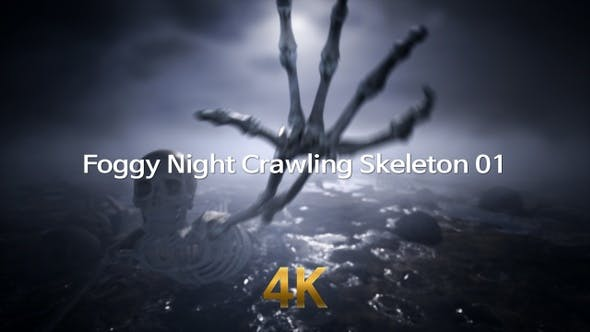 Foggy Night Crawling Skeleton 4K 01