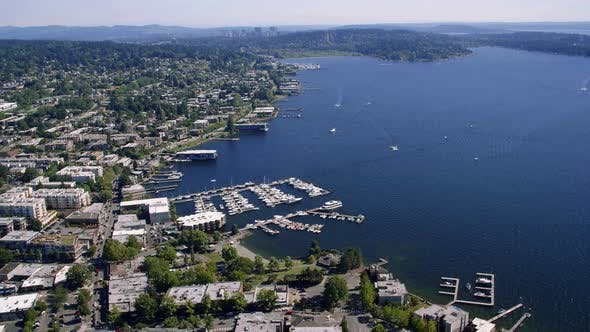 Thumbnail for Kirkland Washington City Waterfront Aerial With Bellevue Background