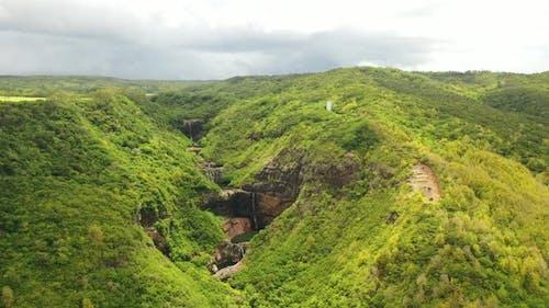 Cascades of Waterfalls Tamarin Island of Mauritius