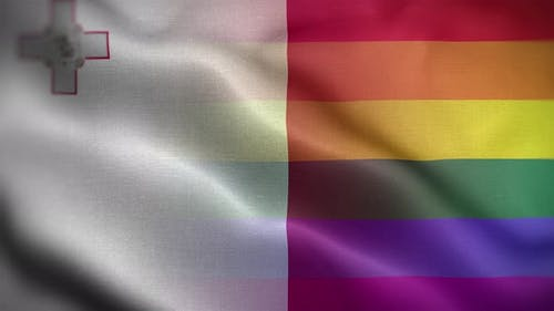 LGBT Malta Flag Loop Background 4K