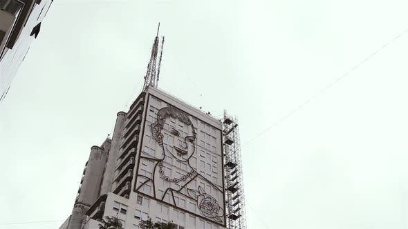 Thumbnail for Eva Peron Face on a Building of Buenos Aires.