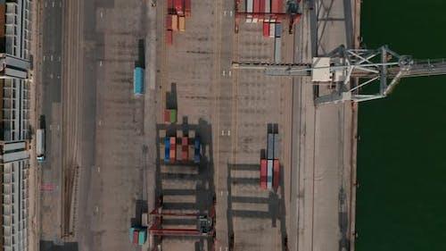 Aerial Birds Eye Overhead Top Down Panning View of Harbor