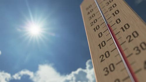 Outdoor Thermometer Reaches 30 Thirty Degrees Centigrade
