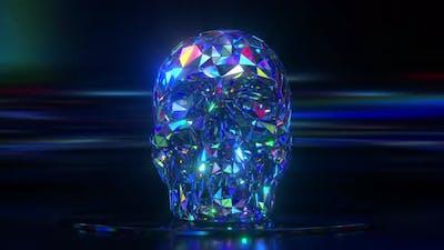 Diamond Skull Shines on a Black Background