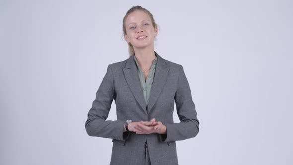 Thumbnail for Young Happy Blonde Businesswoman Clapping Hands