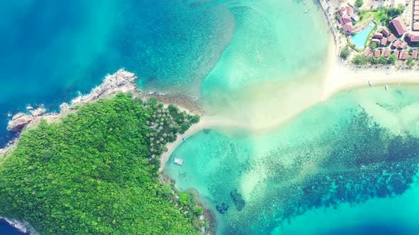 Thumbnail for Natural birds eye copy space shot of a white sandy paradise beach and aqua blue ocean background in
