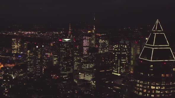 Thumbnail for AERIAL: Over Frankfurt Am Main, Germany Skyline at Night, Big City, Lights, Skyscraper