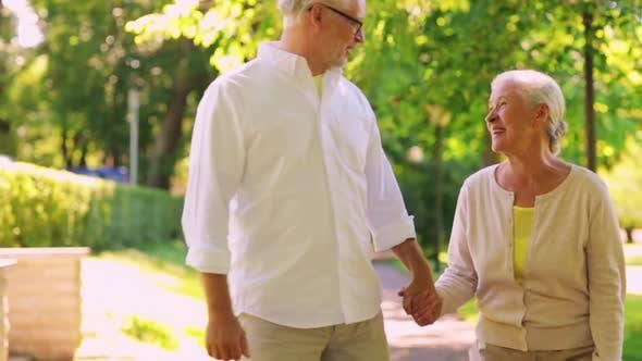 Thumbnail for Happy Senior Couple Walking at Summer City Park 1