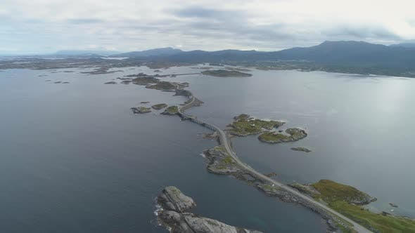 Thumbnail for Atlantic Ocean Road in Norway From High Altitude