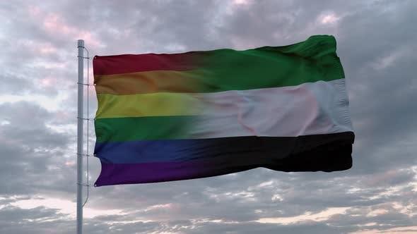 Waving Flag of United Arab Emirates and LGBT Rainbow Flag Background