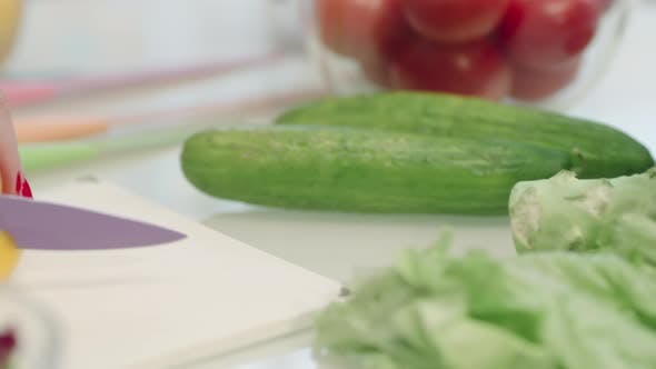 Thumbnail for Closeup Woman Hands Cutting Pepper in Slow Motion