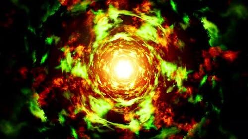 Boucle d'énergie de feu vert et rouge abstraite 4K