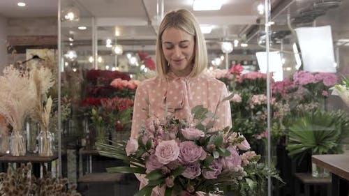 Happy Florist Made A Bouquet, Portrait Of Smiling Florist