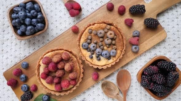 Thumbnail for Vegan Dessert. Tartlet With Berries. Top View