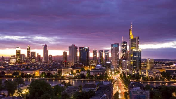 Thumbnail for AERIAL: Night Hyper Lapse, Motion Time Lapse of Frankfurt Am Main Germany Skyline View and Beautiful