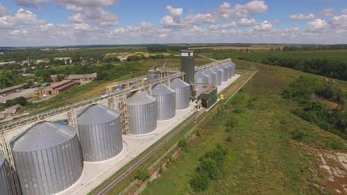 Aerial View of Grain Bins.