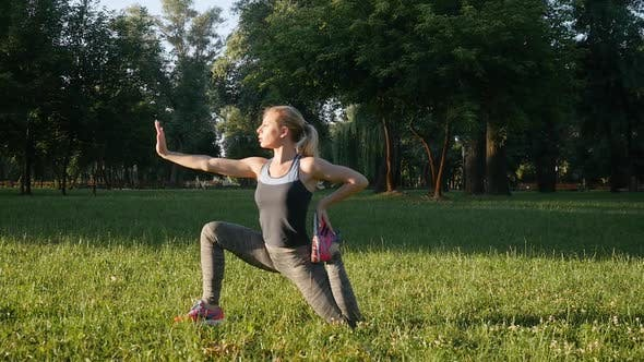 Thumbnail for Beautiful Girl Doing Exercises Outdoors