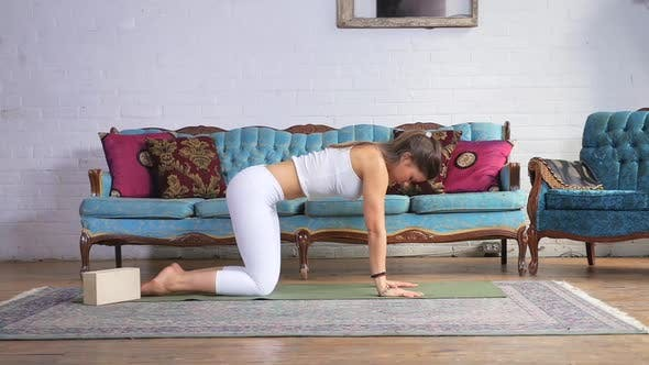 Thumbnail for Young Attractive Female Doing A Cat Cow Stretch On A Yoga Mat