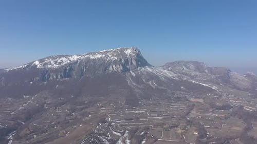 Valley of mountain Stol by the day 4K drone video