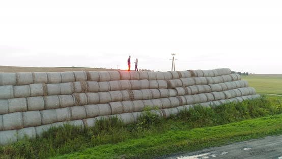 Thumbnail for Agriculture Successful Farmers Standing on the Top of a Bale of Straw