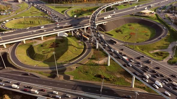 Thumbnail for Aerial View of a Freeway Intersection Traffic Trails in Moscow