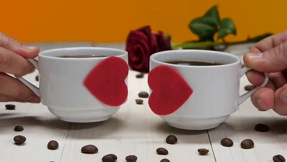 Thumbnail for Couple of Lovers Cups of Coffee. Romantic for Valentine Day