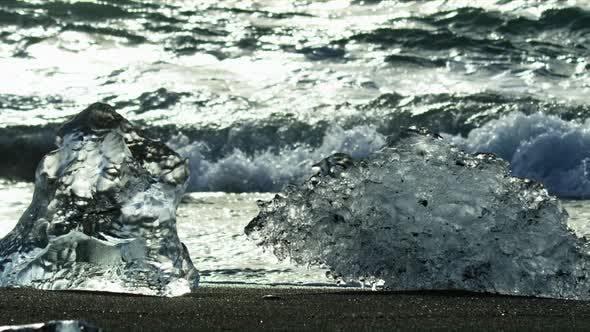 Thumbnail for A Couple of Icebergs on Black Sand Beach