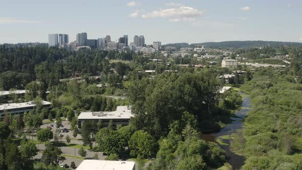 Thumbnail for Bellevue Washington Usa Aerial Landscape Establishing Shot Of City From Mercer Slough