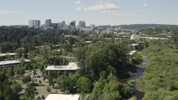 Cover Image for Bellevue Washington Usa Aerial Landscape Establishing Shot Of City From Mercer Slough