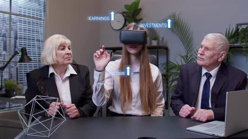 Businesswoman Using VR App Headset Helmet Doing Research Watching Virtual Reality Graph at Office