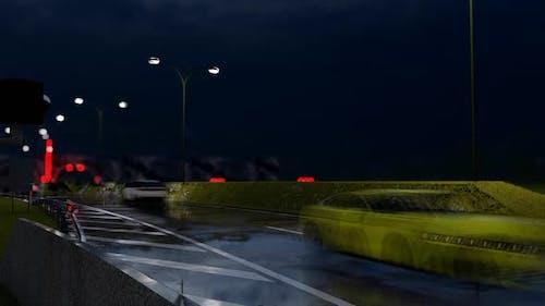 Vehicle Traffic Through Tunnel at Night