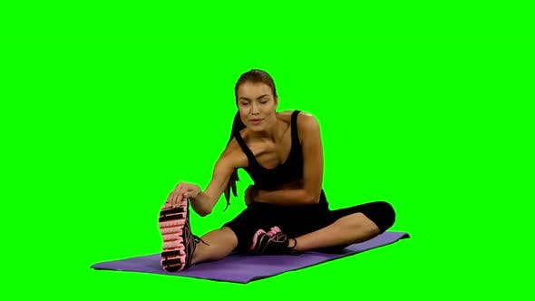 Thumbnail for Woman Practicing Yoga in Gym, Stretching, Green Screen
